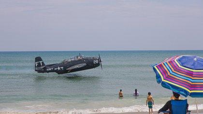 Il pilota ha effettuato una rischiosa manovra di emergenza sulla riva dove c'era molta gente
