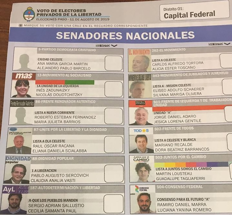 La boleta de senadores nacionales para la ciudad de Buenos Aires
