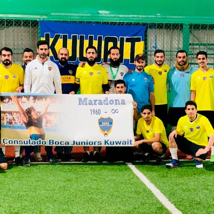 El equipo del consulado de Boca en Kuwait rindió tributo a Diego Armando Maradona tras su fallecimiento