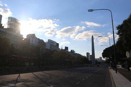 Una imagen de Buenos Aires en tiempos de cuarentena