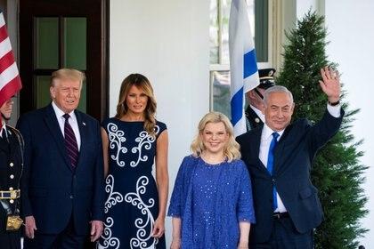 Trump y Netanyahu junto a las primeras damas en la recepción de la Casa Blanca (Reuters)