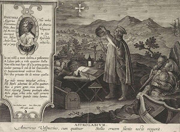 Américo Vespucio descubriendo la constelación de la Cruz del Sur con un astrolabio. Grabado de Jan Collaert, según Stradanus, 1591.