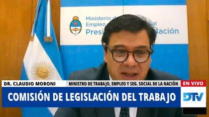 El ministro de Trabajo, Claudio Moroni, participó en una reunión informativa sobre el teletrabajo en Diputados