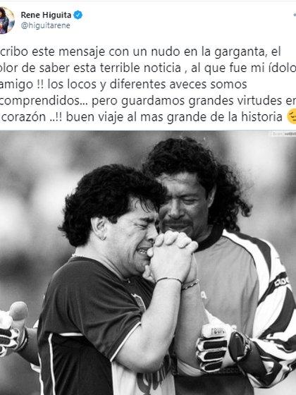 Rene Higuita expresa sus condolencias por la muerte de Diego Maradona.