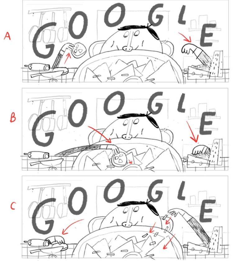 Los bocetos que realizó Alfonso de Anda para el doodle (Foto: Google)