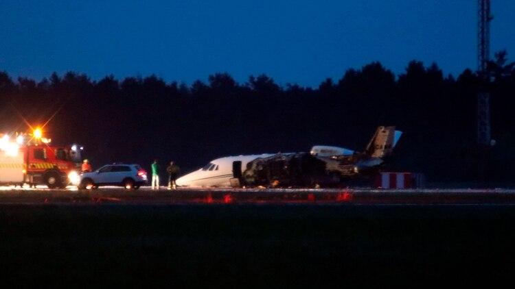 El equipo de la cantante abordó el avión después de haber dado un concierto en Noruega (AFP)