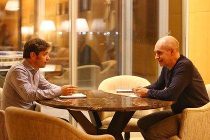 Axel Kicillof y Horacio Rodríguez Larreta esta tarde
