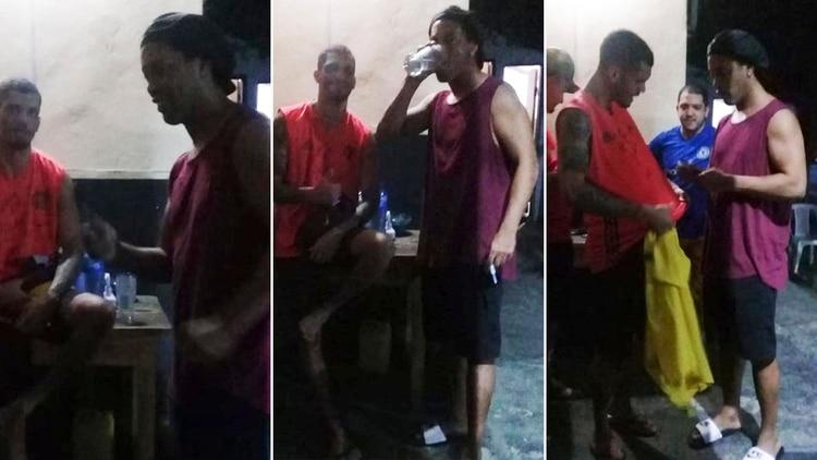 Ronaldinho firmó camisetas, gorras y pelotas a los presos