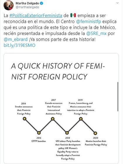 Siguiendo la estela de Francia o Suecia, México adoptó este año una política exterior feminista que busca fomentar el ascenso de la mujer en la carrera diplomática (Foto: Twitter)