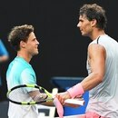 Melbourne (Australia), 21/01/2018.- Rafael Nadal (R) of Spain is congratulated by Diego Schwartzman (L) of Argentina after winning their fourth round match at the Australian Open Grand Slam tennis tournament in Melbourne, Australia, 21 January 2018. (España, Abierto, Tenis) EFE/EPA/DEAN LEWINS AUSTRALIA AND NEW ZEALAND OUT