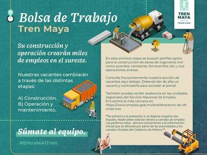 El gobierno de México ofrece puestos de trabajo en el área de construcción del Tren Maya (Foto: STPS)