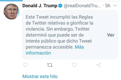 """Ésta es la leyenda que se ve en Twitter. Para poder leer el tuit hay que presionar donde dice """"Ver""""."""