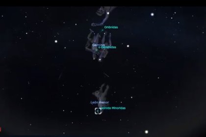 En la imagen, constelaciones de Géminis, León y Orión, radiantes de las Gemínidas, las León-Menóridas y Oriónidas, respectivamente  (Foto: Comité Nacional Noche de las Estrellas/Red de Planetarios Quintana Roo/Vía Stellarium)
