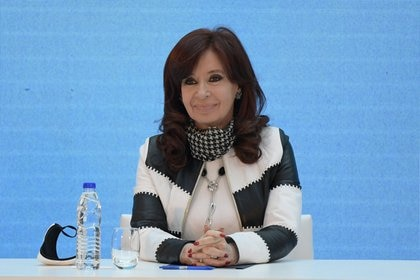 Argentina's Vice President, Cristina Fernandez de Kirchner smiles before a news conference to give details about the agreement with major private creditors to restructure Argentina's sovereign debt, at the Casa Rosada Presidential Palace, in Buenos Aires, Argentina August 31, 2020. Juan Mabromata/Pool via REUTERS