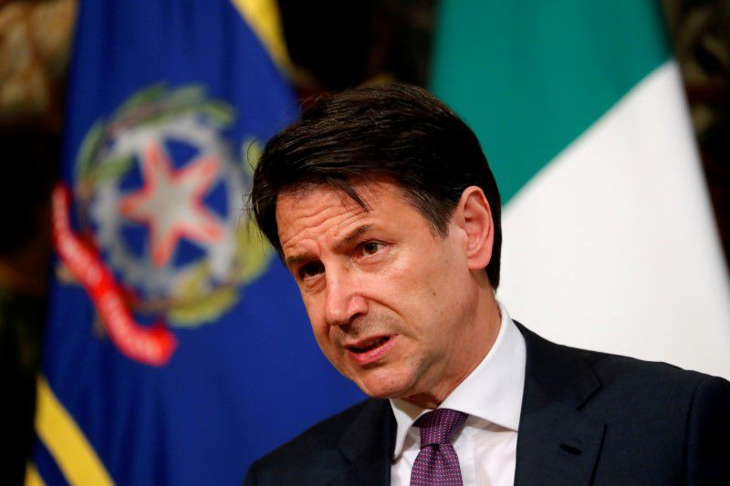 FILE PHOTO: Italian Prime Minister Giuseppe Conte looks on as he holds a news conference at Chigi Palace in Rome, Italy,  June 3, 2019. REUTERS/Remo Casilli/File Photo