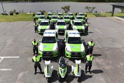 Durante el acto se presentaron 14 nuevas patrullas, 2 motos triciclo municipales de Protección Ciudadana y 200 cámaras de seguridad.
