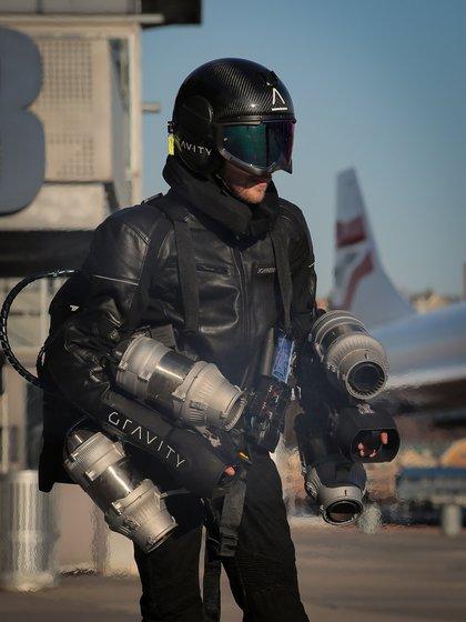 El jet suit de Gravity Industries durante un vuelo de prueba en Nueva York