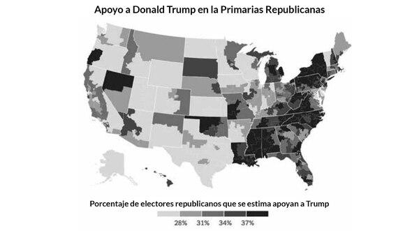 El apoyo a Donald Trump en las Primarias Republicanas refleja una clara correlación con el mapa del índice de búsquedas racistas