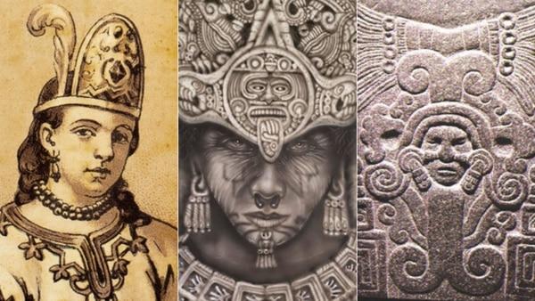 La Malinche y diferentes representaciones de Cihuacóatl (Fotos: Pinterest, Wikipedia)