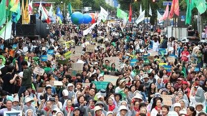 La marcha del sábado pasado en Seúl (AFP)