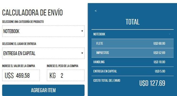 Esto es lo que paga la notebook por flete, impuestos y entrega en la Ciudad Autónoma de Buenos Aires
