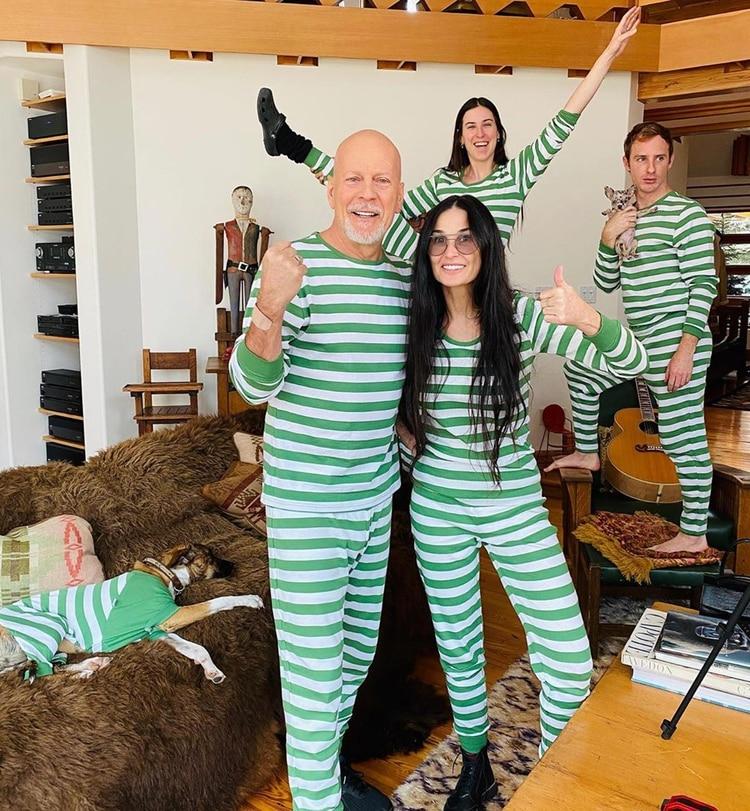 Bruce Willis y Demi Moore durante su particupar cuarentena (Instagram)