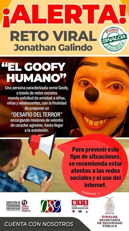 """El secretario de seguridad pública de Sinaloa emitió una alerta por el desafío viral """"el torpe humano"""" (Foto: Secretaría de Seguridad Pública de Sinaloa)"""