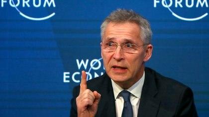 El Secretario General de la OTAN Jens Stoltenberg durante el Foro de Davos de este año (REUTERS/Denis Balibouse)