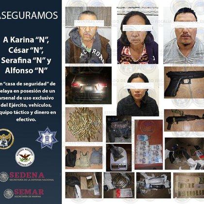 """Además de Karina """"N"""",  fueron detenidos César """"N"""", Alfonso """"N"""" y Serafina """"N"""", quienes también forman parte de la misma organización criminal (Foto: Twitter)"""