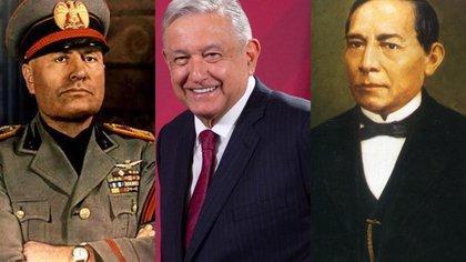 AMLO, Juárez y Mussolini (Foto: Cuartoscuro/Twitter@PepeQuintanilla)