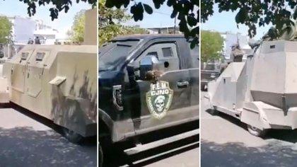 Camionetas blindadas y monstruos del CJNG en Michoacán (Foto: captura de pantalla)