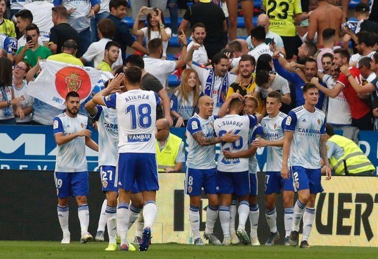 15/09/2019 Los jugadores del Real Zaragoza celebran un gol. DEPORTES LALIGA