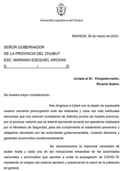 Los diputados de Chubut presentaron un pedido de informes al gobernador Mariano Arcioni por la violencia policial en los operativos de la cuarentena
