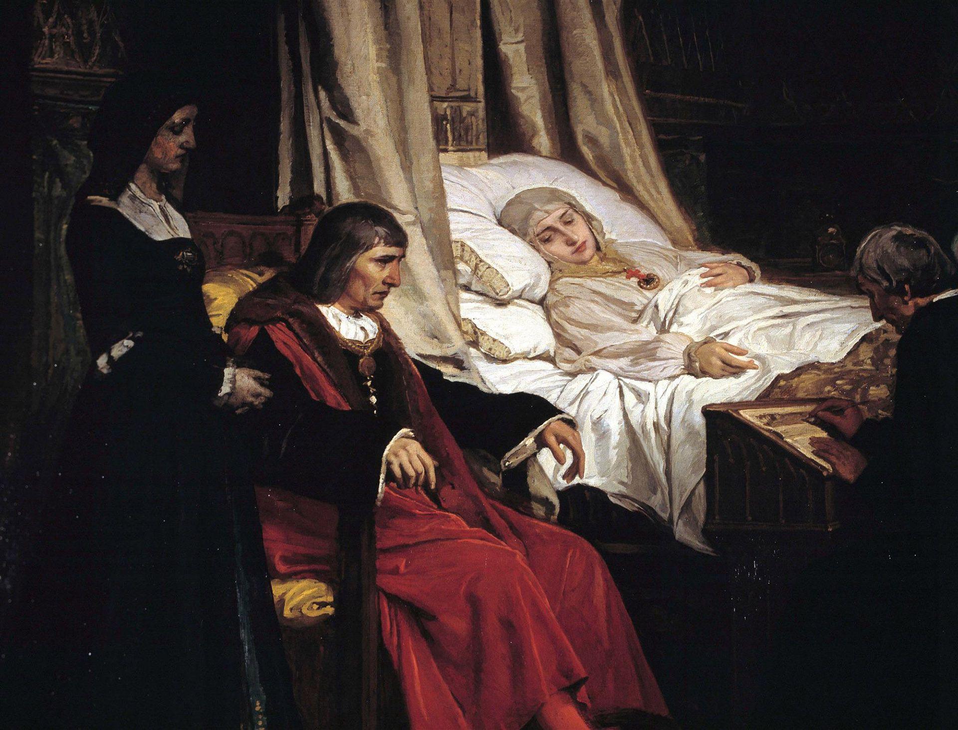 Fernando el Católico junto al lecho de muerte de su esposa Isabel de Castilla