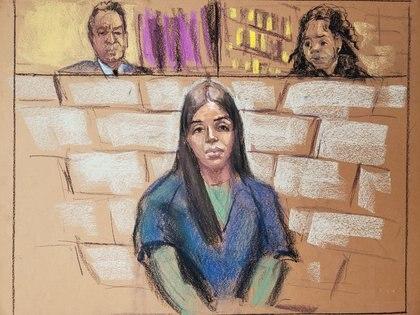 Emma Coronel durante su comparecencia ante el juez magistrado de los Estados Unidos (Imagen: Reuters)