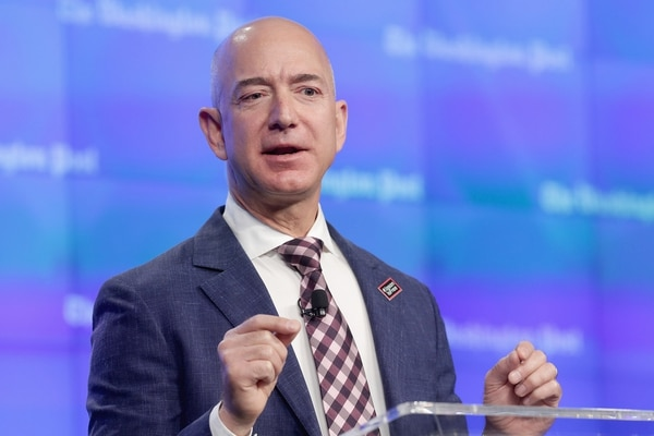 El fundador de Amazon, Jeff Bezos, durante una conferencia (Getty)