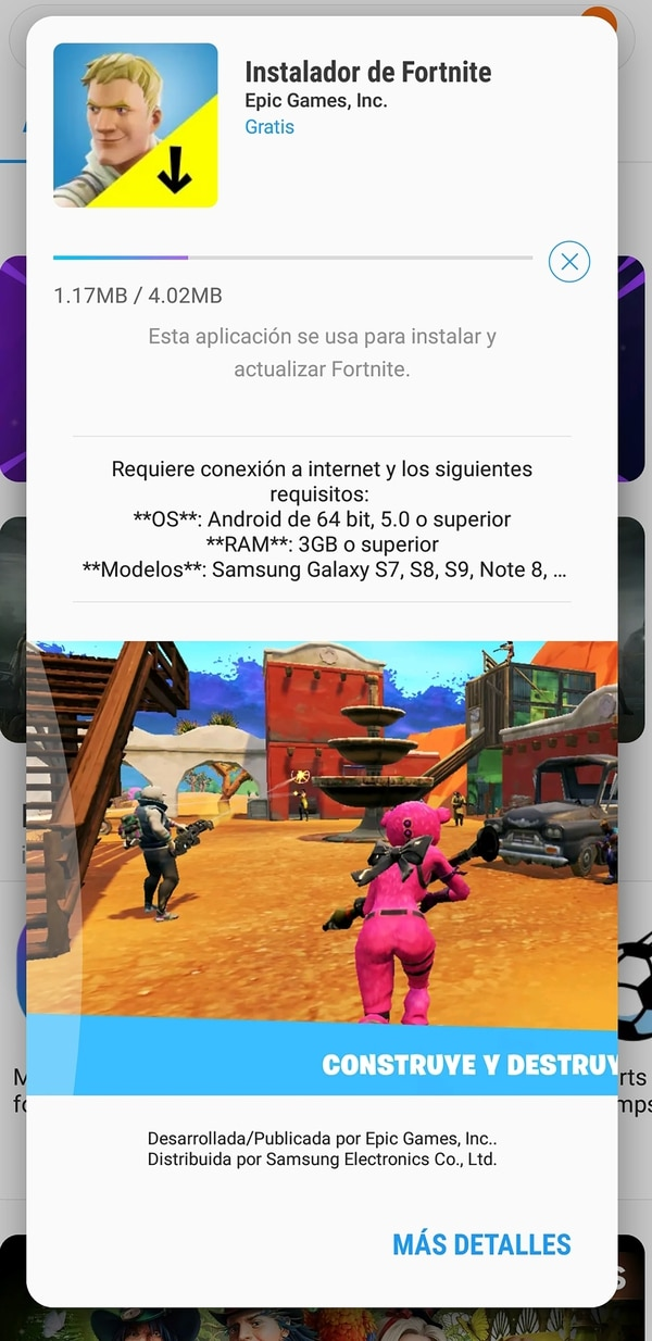 Fortnite para dispositivos Samsung