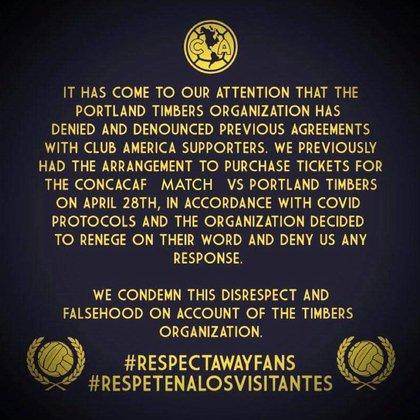 Advertise from Club América fans (Photo: Twitter @ AZULKRAS1916)
