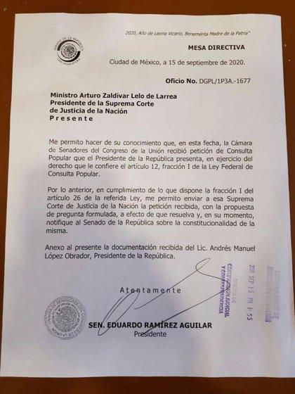 El documento fue enviado este mismo martes (Foto: Twitter @RicardoMonrealA)