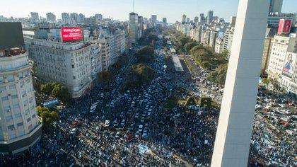 La protesta, desde el drone de Infobae