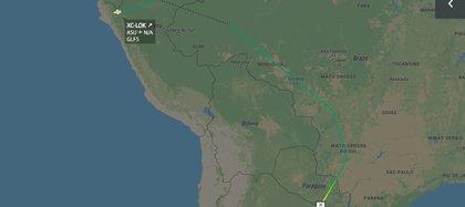 La singular ruta que tomó el avión de las Fuerzas Armadas de México para trasladar a Evo Morales en las primera horas de vuelo (Foto: Radarbox)