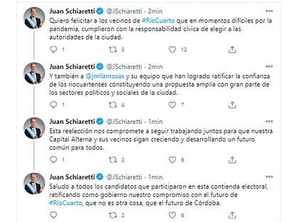 Mensaje del gobernador de Córdoba tras conocer el resultado de las elecciones