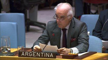 Martín García Moritán en lareunión del Consejo de Seguridadde Naciones Unidas por la crisis en Venezuela