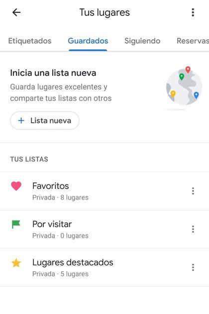 Se puede editar la lista de sitios guardados en Google Maps.