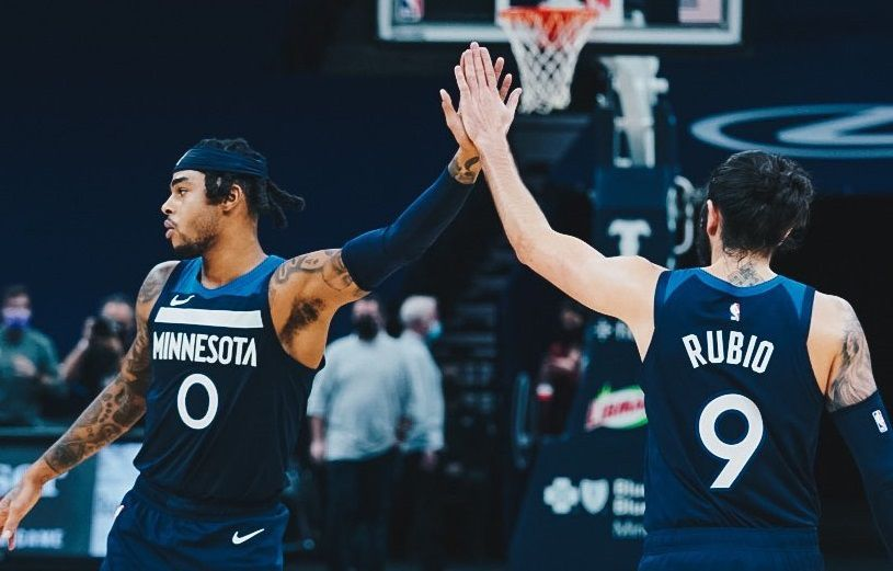 24/12/2020 Russell y Ricky Rubio celebran la victoria de Minnesota Timberwolves DEPORTES MINNESOTA TIMBERWVOLES