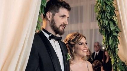 Dalma Maradona y Andrés Caldarelli el día de su boda, a fines de marzo pasado