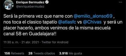 Enrique Bermúdez anunció que compartirá micrófonos con Emilio Fernando Alonso (Foto: Twitter/@enriquebermudez)