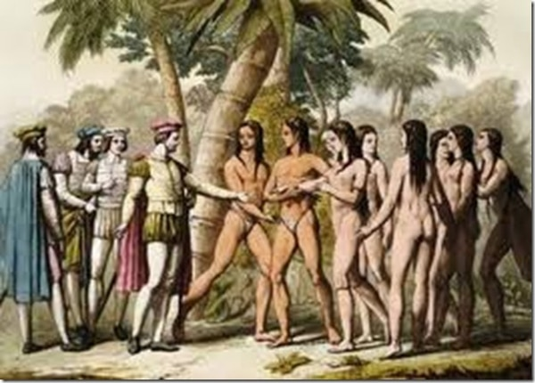 La primera etnia con la que tomó contacto Colón fue la de los taínos