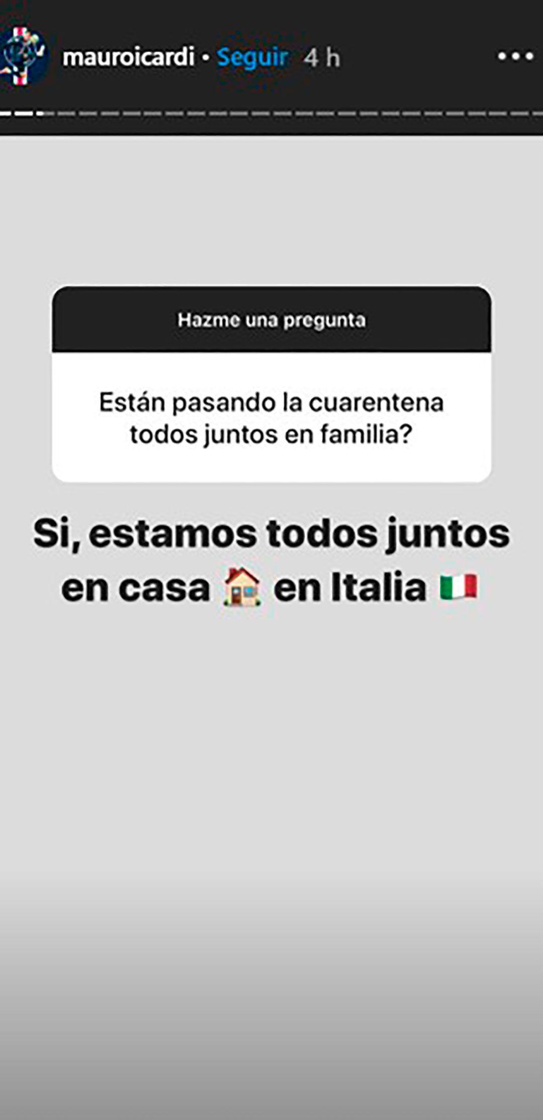 Mauro Icardi respondió a los seguidores que le consultaron el motivo de su vuelta a Italia (Foto: Instagram)