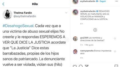 """Thelma Fardín criticó la decisión de calificar """"desahogo sexual"""" a un abuso."""